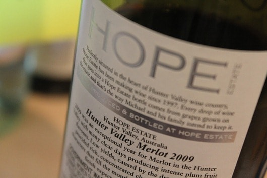 Hope Estate Merlot Hunter Valley Australia 2009