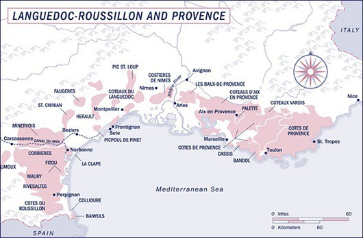 Languedoc Wine Map France