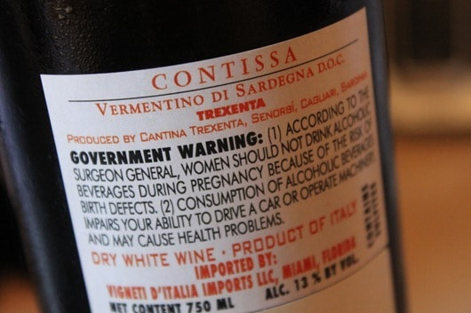 Cantina Trexenta Contissa Vermentino di Sardegna.