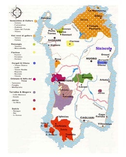 Sardinian Wine Map