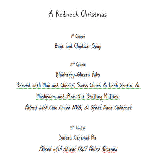 A Redneck Christmas Menu.
