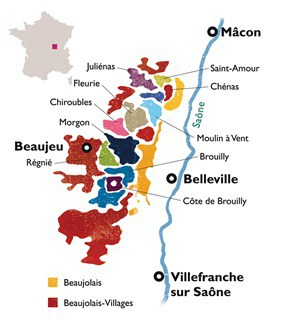 Beaujolais Wine Map