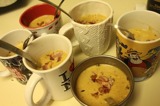 Beer Cheese Soup.....in mugs.