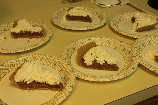 Salted Caramel Pie...on paper plates.