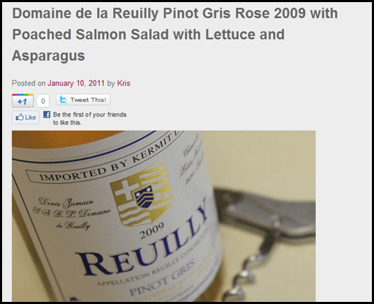 Domaine de la Reuilly Pinot Gris Rose 2009 with Poached Salmon Salad with Lettuce and Asparagus