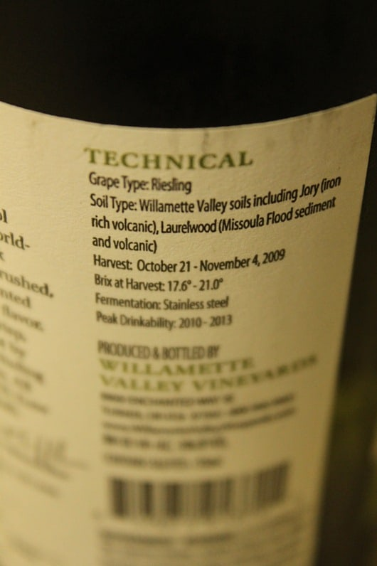 Willamette Valley Vineyards Riesling, Oregon.