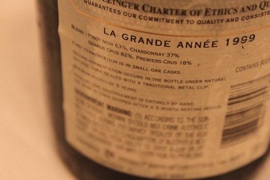 Bollinger La Grande Annee 1999 Back Label