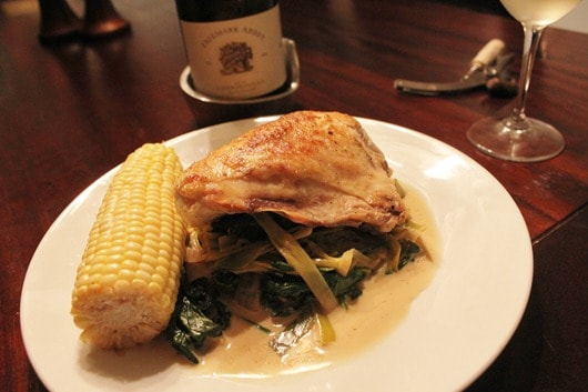 Chicken Breasts with Spinach, Leek and Saffron Sauce Paired with Freemark Abbey Chardonnay