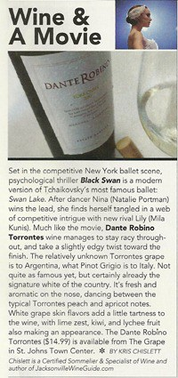 Jacksonville Magazine Wine and a Movie Feature.