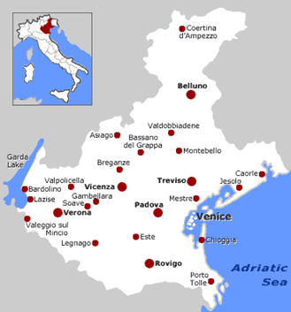 Veneto Wine Region Map of Italy