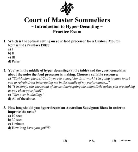 Court of Master Sommelier Hyper-Decanting Practice Exam