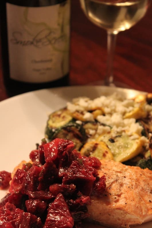 Grilled Salmon with Blood Orange Salsa Paired with Smokescreen Napa Chardonnay