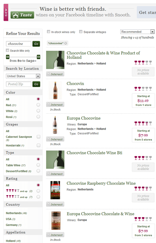 Snooth Chocovine Wine Ratings and Reviews