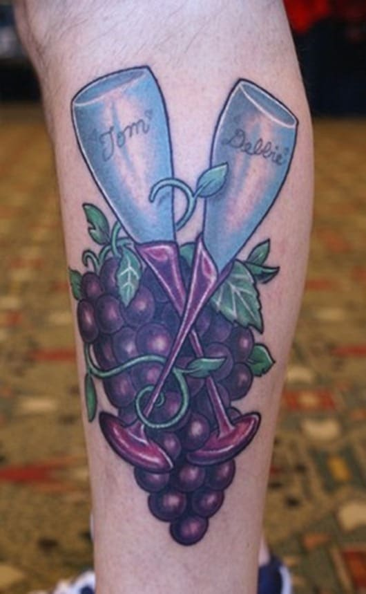 Top 20 wine tattoos when a love for wine goes too far for Small cocktail tattoos