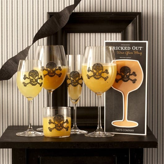 Skull and cross bone wine glasses