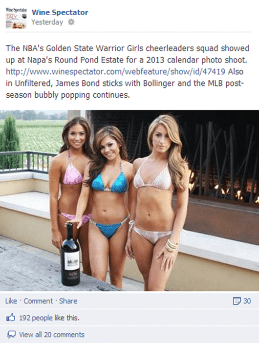 The Wine Spectator FINALLY Discovers the Secret to a Successful Facebook Post.