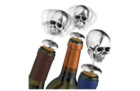 Bobbing Head Halloween Wine Skull Stoppers