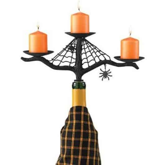Halloween wine bottle candelabra.