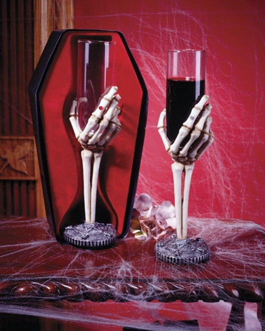 Skelton hand wine glass