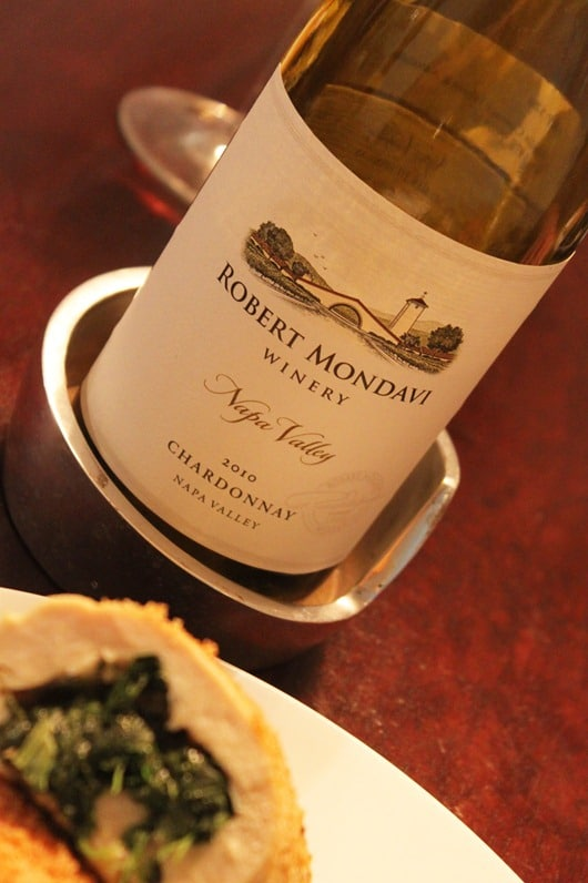 Spinach and Pepperjack Stuffed Chicken Paired with Robert Mondavi Napa Chardonnay.