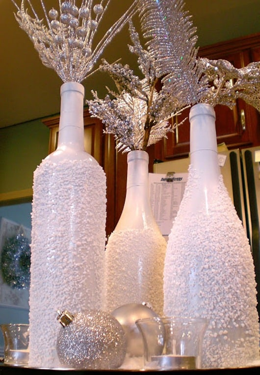 DIY Snow Covered Wine Bottle Christmas Display