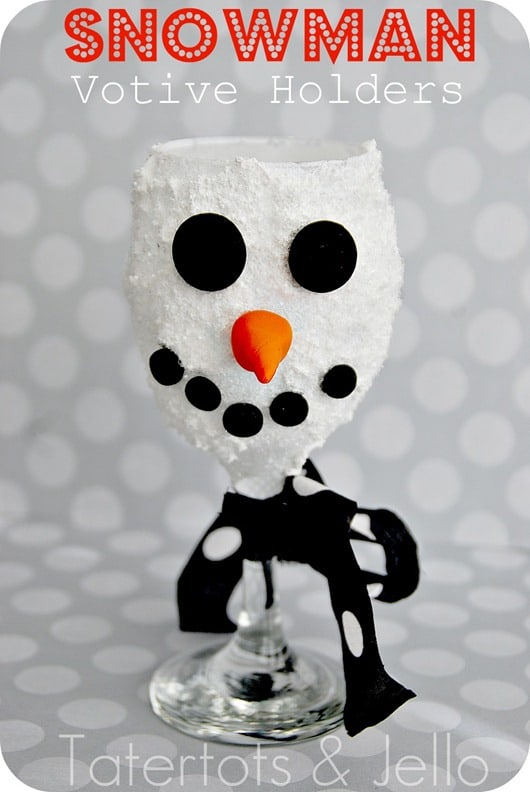 DIY Snowman Wine Glass Votive Holders
