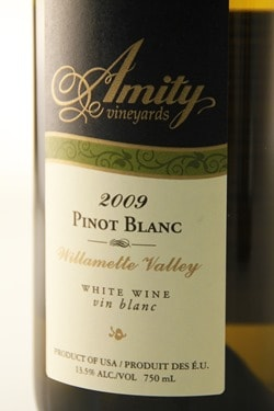 Amity Vineyards, Pinot Blanc, Willamette Valley, Oregon